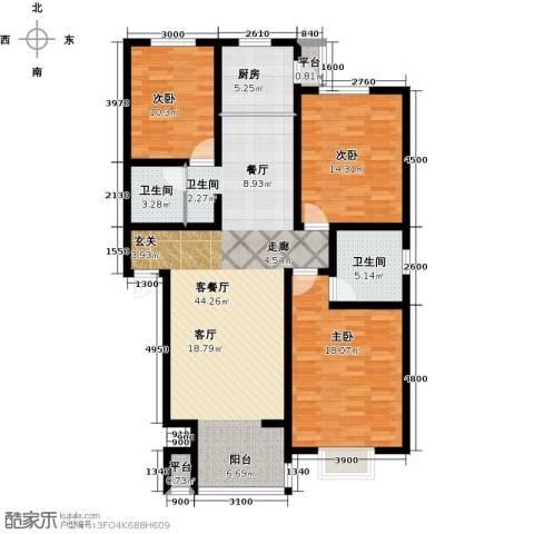 金润华府3室1厅2卫1厨120.00㎡户型图