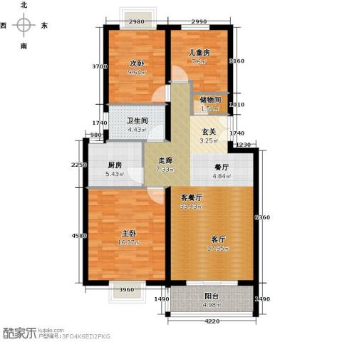 BOBO悠乐城3室1厅1卫1厨108.00㎡户型图
