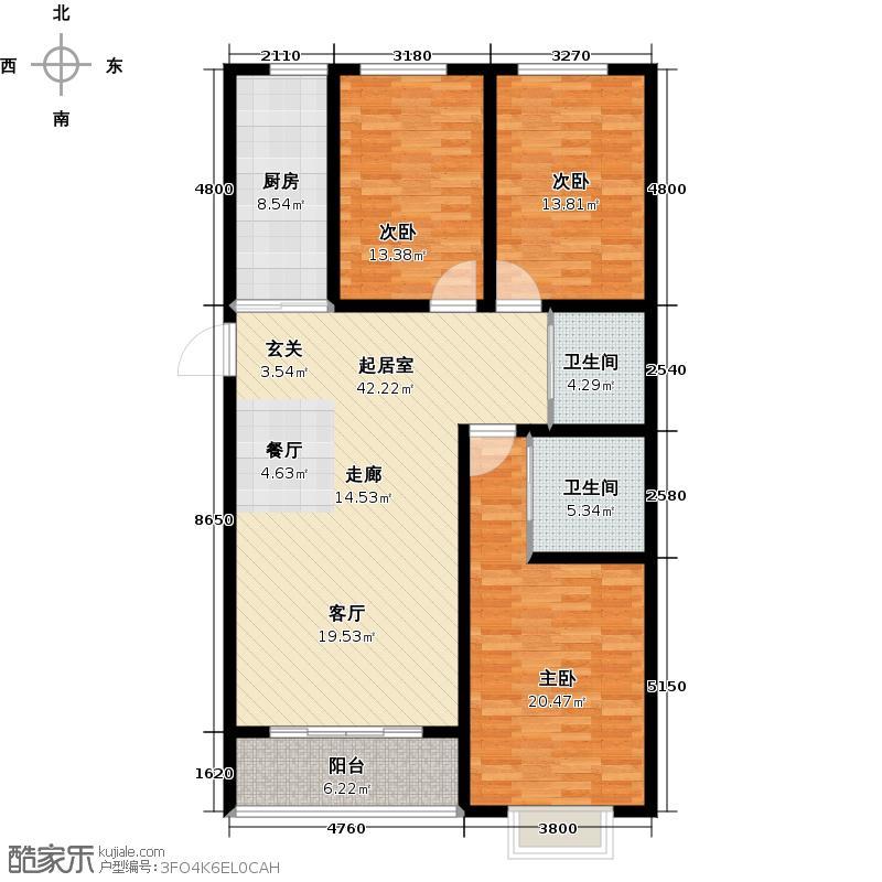 金汉御园129.00㎡C户型 5#户型3室2厅2卫