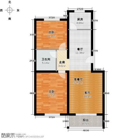 BOBO悠乐城2室1厅1卫1厨96.00㎡户型图