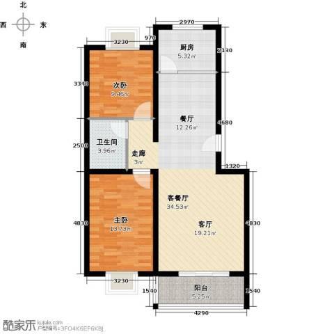 BOBO悠乐城2室1厅1卫1厨92.00㎡户型图