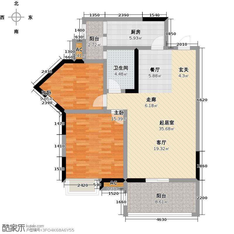 水墨清华90.00㎡E2户型2室2厅1卫户型2室2厅1卫-T