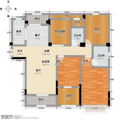 观澜御苑3室0厅2卫1厨131.00㎡户型图