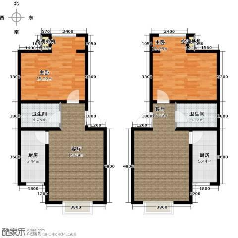 水郡花洲2室2厅2卫2厨126.00㎡户型图