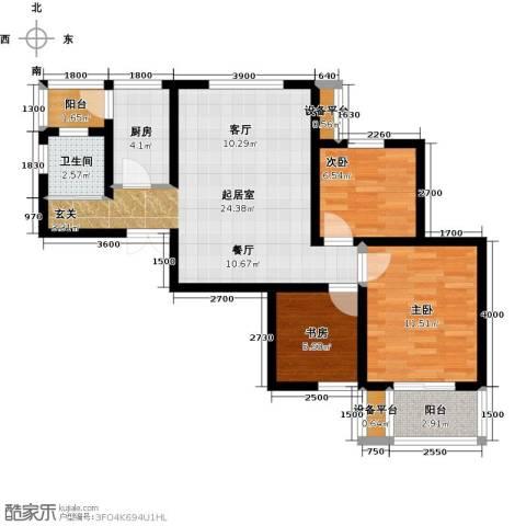 锦尚名城3室0厅1卫1厨89.00㎡户型图