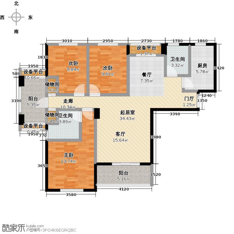 德大浅水湾130.00㎡B户型 三房两厅两卫户型3室2厅2卫