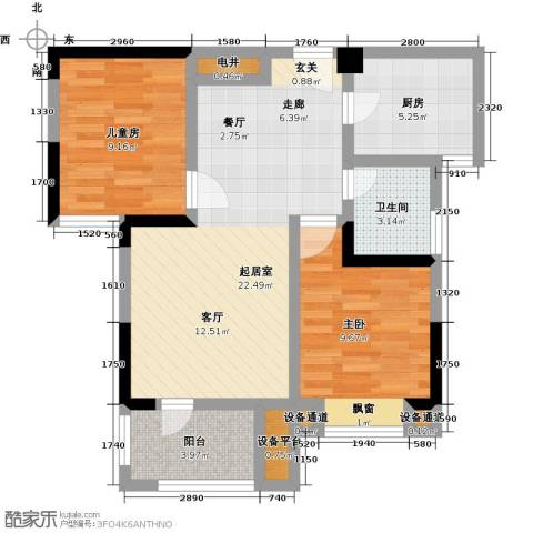 中冶枫树湾2室0厅1卫1厨81.00㎡户型图