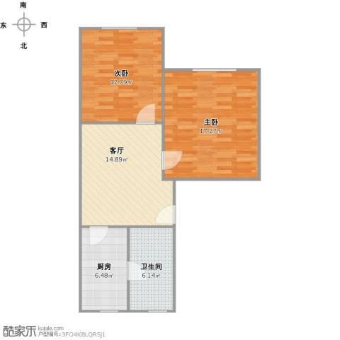 共康路400弄小区2室1厅1卫1厨76.00㎡户型图