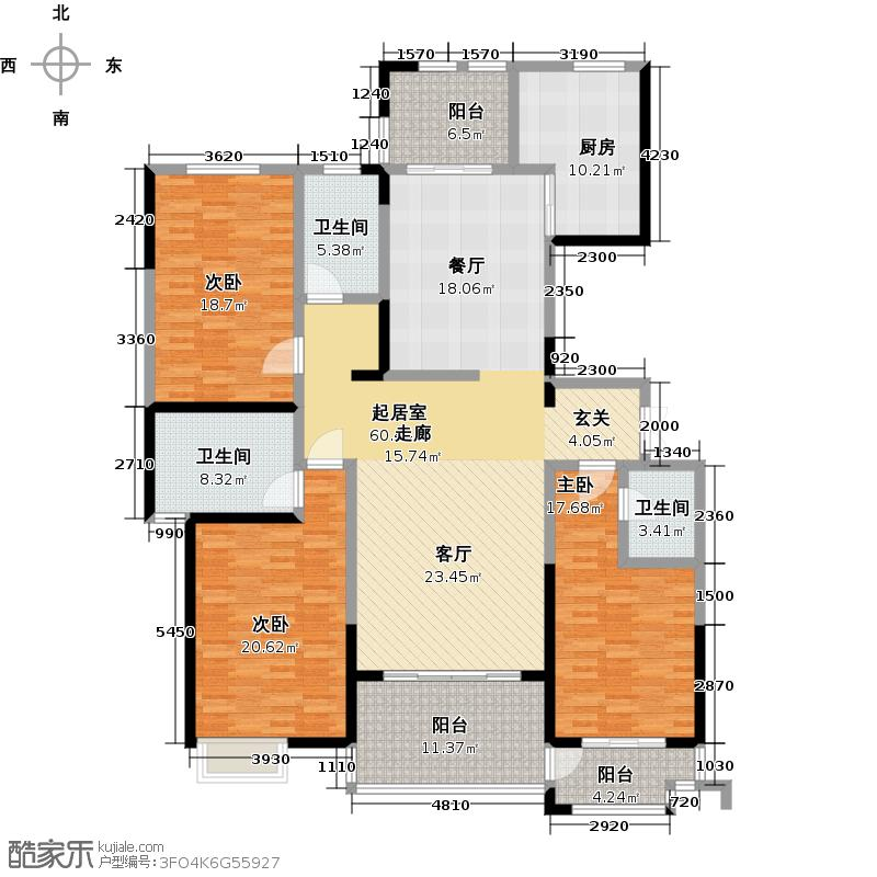 鼎正中央领郡215.00㎡X2东单元西户标准层户型图4室2厅2卫1厨户型4室2厅2卫