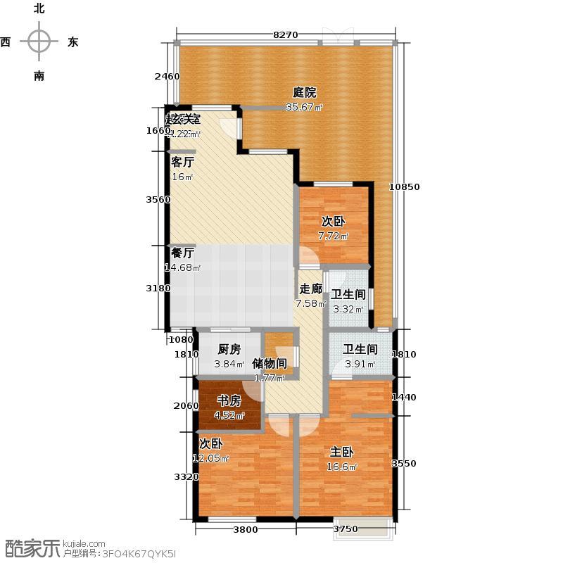 和达和城147.00㎡A洋房三室两厅户型