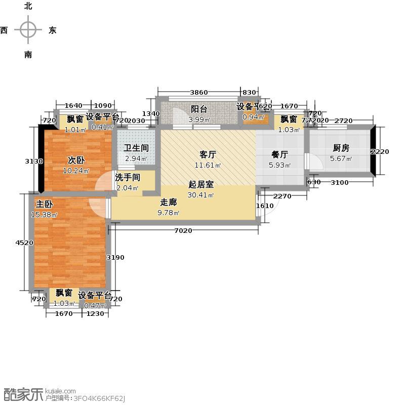 百胜青城一品83.00㎡C户型两室两厅一卫户型2室2厅1卫
