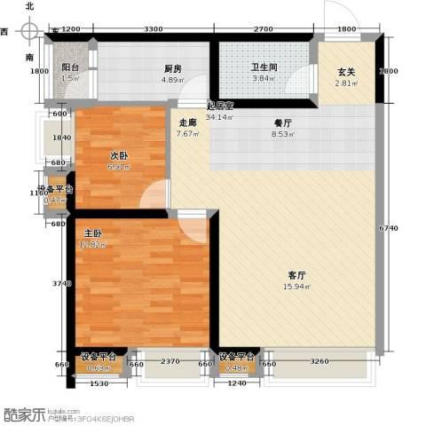 阳光台3652室0厅1卫1厨90.00㎡户型图