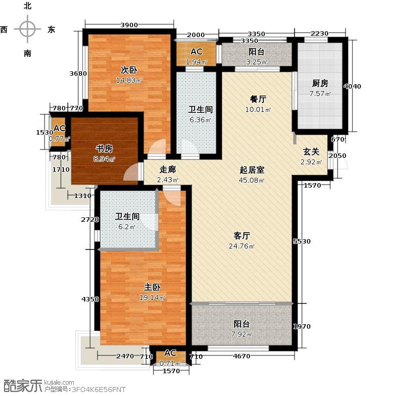 绿地新里卢浮公馆C3三室两厅两卫135-144平米户型QQ