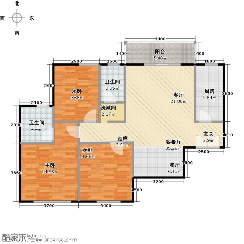 汉口湖畔119.08㎡9号楼J9-1a户型三房两厅两卫户型3室2厅2卫