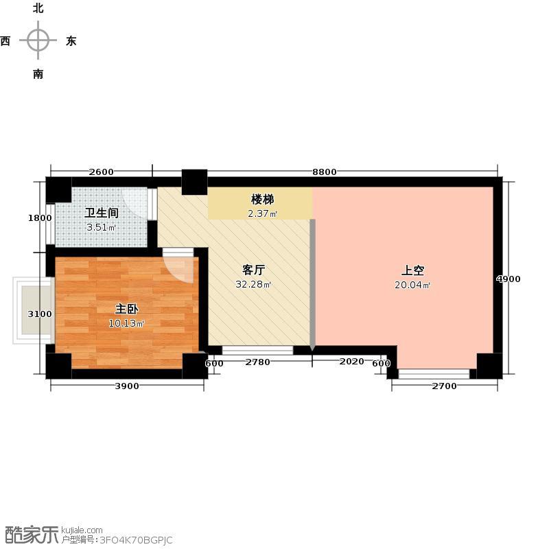 汇丰国际度假公寓B套一房两厅一厨一卫户型