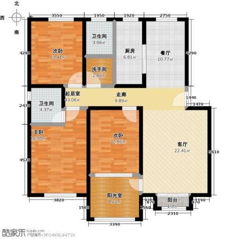 福郡雅居3室0厅2卫1厨131.00㎡户型图