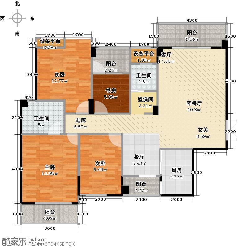 汉口湖畔129.00㎡10号楼4C3户型 四房两厅两卫户型4室2厅2卫