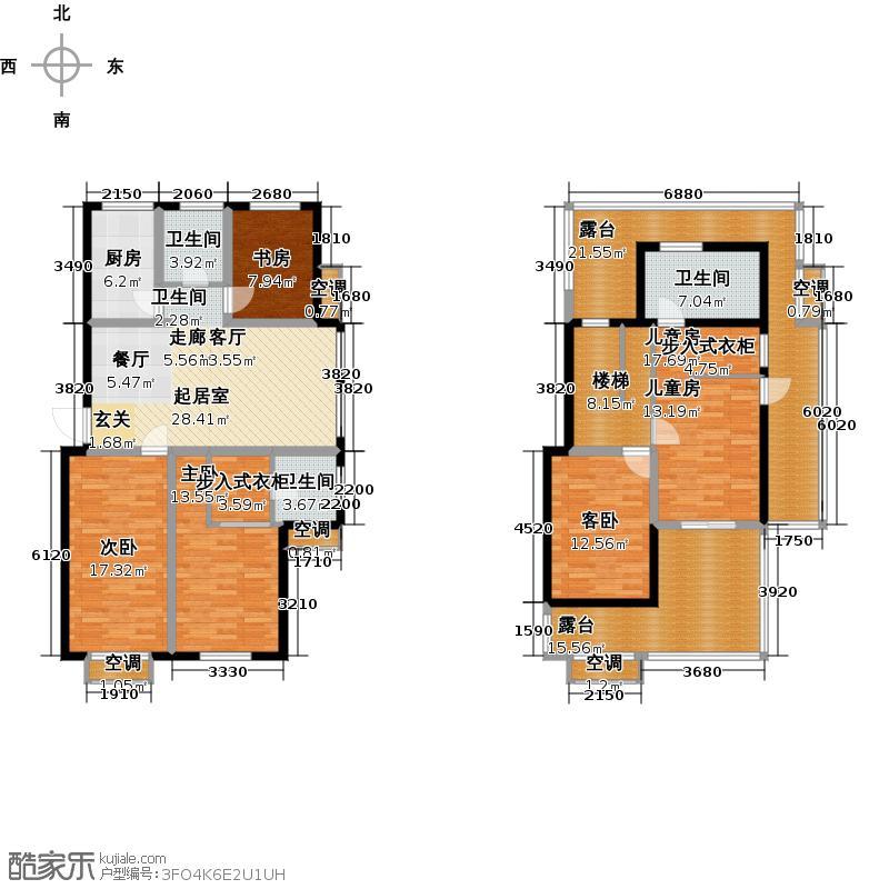 富贵国际花苑户型5室3卫1厨