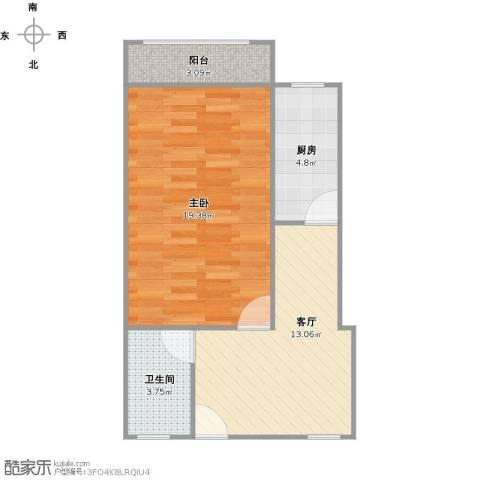 靖宇东路85弄小区1室1厅1卫1厨59.00㎡户型图