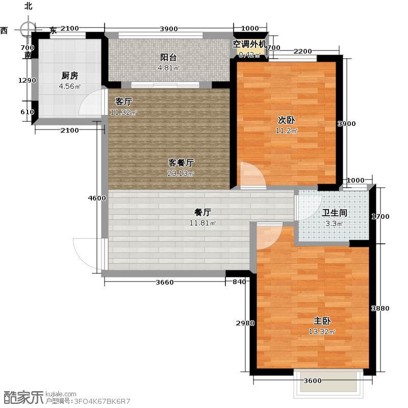 联发九都府84.00㎡1#楼C2户型 二室二厅一卫户型2室2厅1卫
