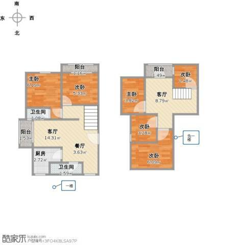 梧桐城邦二期6室2厅2卫1厨84.00㎡户型图