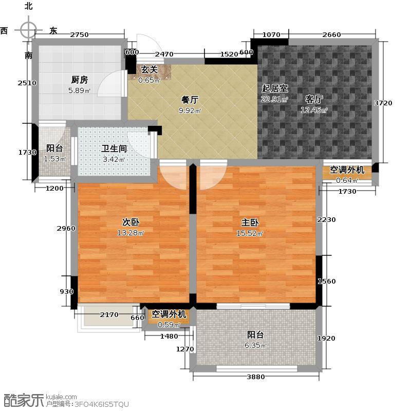 保利香槟国际88.00㎡D2户型 88平米户型2室2厅1卫