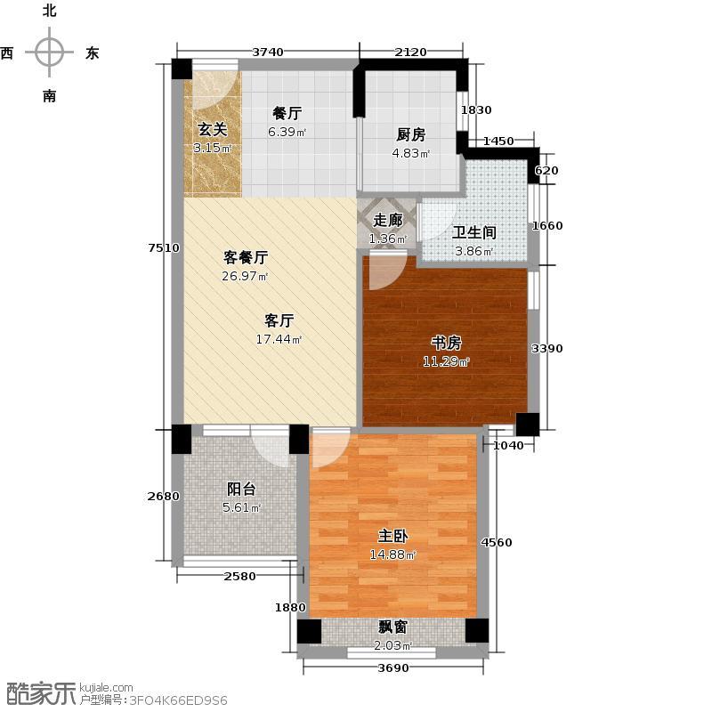 巢上城76.00㎡9、10号楼D3户型2室2厅2卫