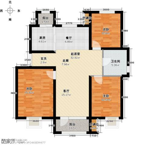 金川新天地3室0厅1卫1厨110.00㎡户型图