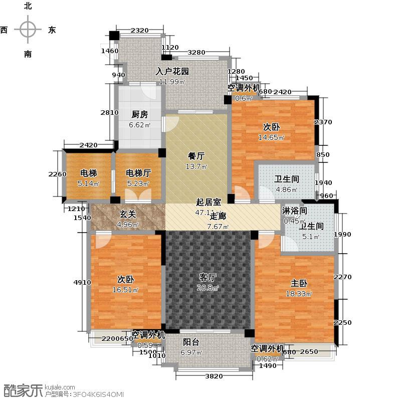 保利香槟国际170.00㎡三期 C户型 170平米户型3室2厅2卫