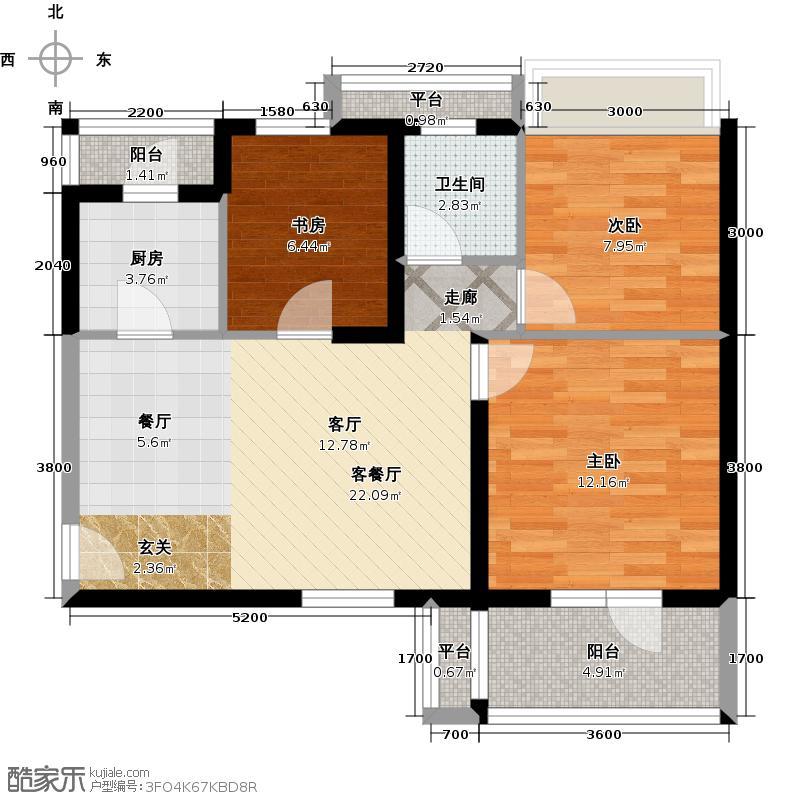 巢上城88.00㎡3室2厅1卫1厨户型3室2厅1卫
