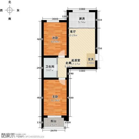 水榭花都2室0厅1卫1厨73.00㎡户型图