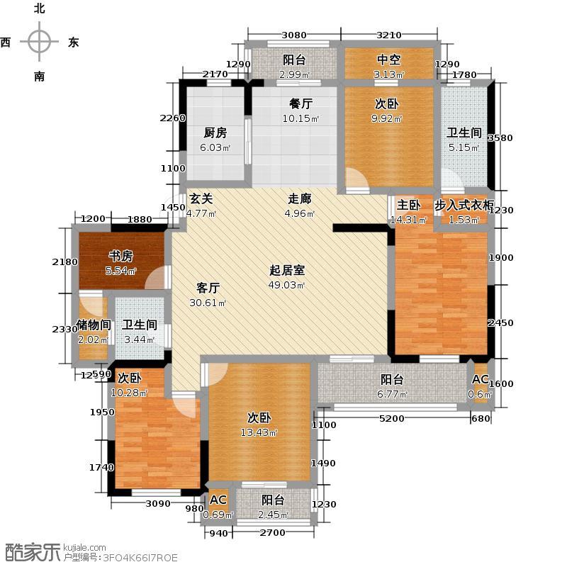知音学府181.00㎡F4户型4室2厅2卫户型4室2厅-T