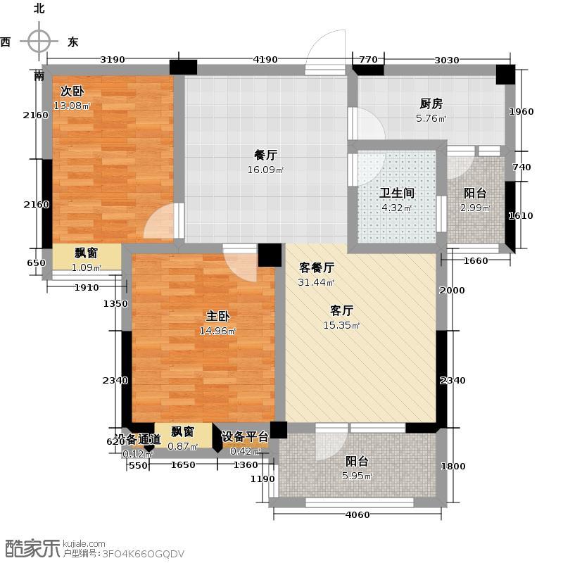 百胜青城一品92.00㎡G户型两方两厅一卫户型2室2厅1卫