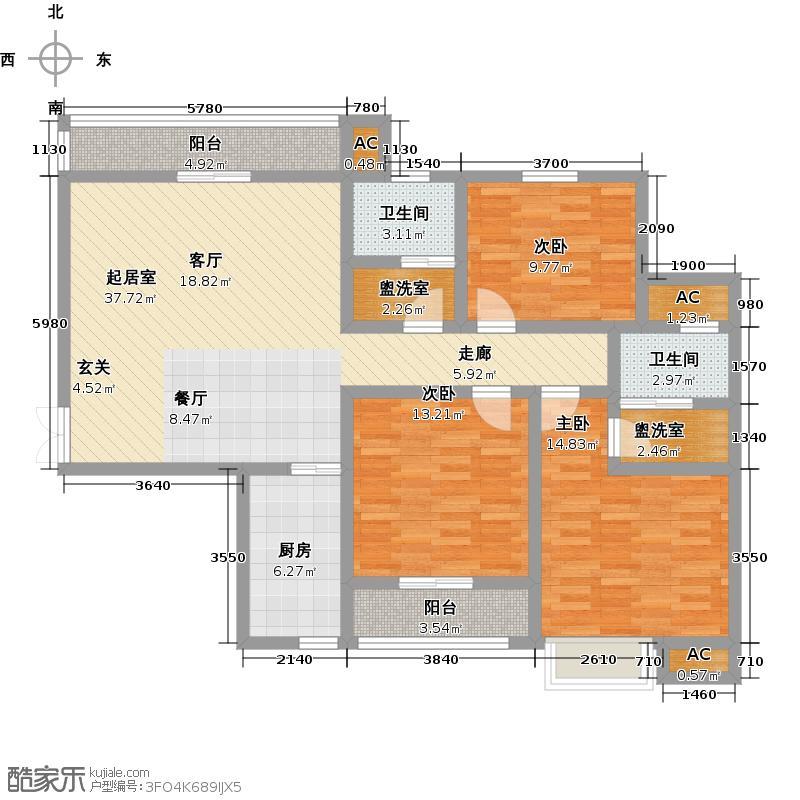 碧荷花园122.31㎡C3户型3室2厅2卫户型3室2厅-T