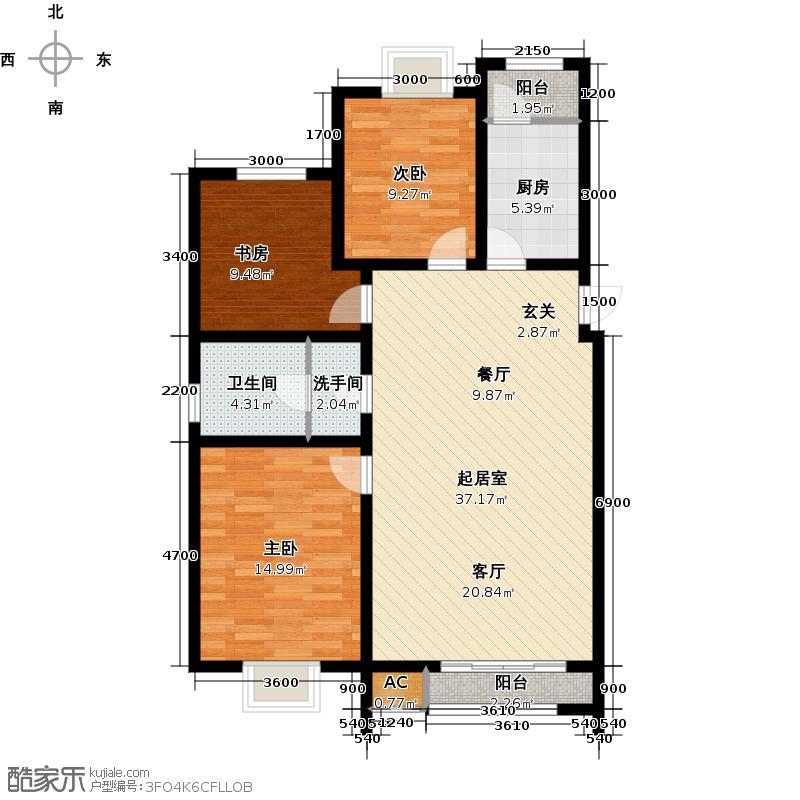 永盛水调歌城三室二厅一卫129。81平方米户型QQ