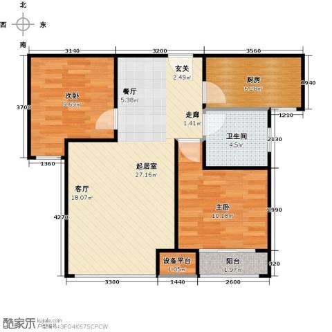 北环盛世2室0厅1卫1厨80.00㎡户型图