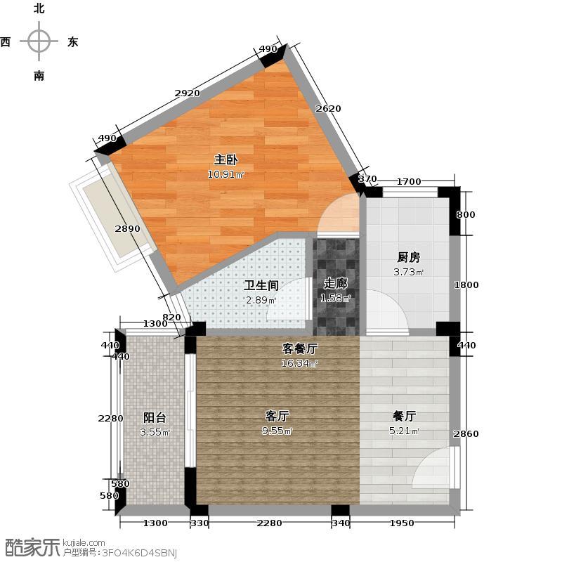 广东街冬日恋歌 1室2厅 46.28㎡户型