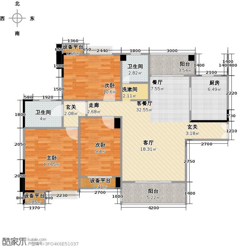 汉口湖畔122.00㎡5号楼3A户型 三房两厅两卫户型3室2厅2卫