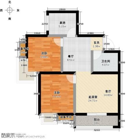 卡布奇诺国际社区2室0厅1卫1厨88.00㎡户型图