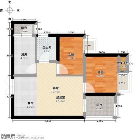 阳光台3652室0厅1卫1厨79.00㎡户型图