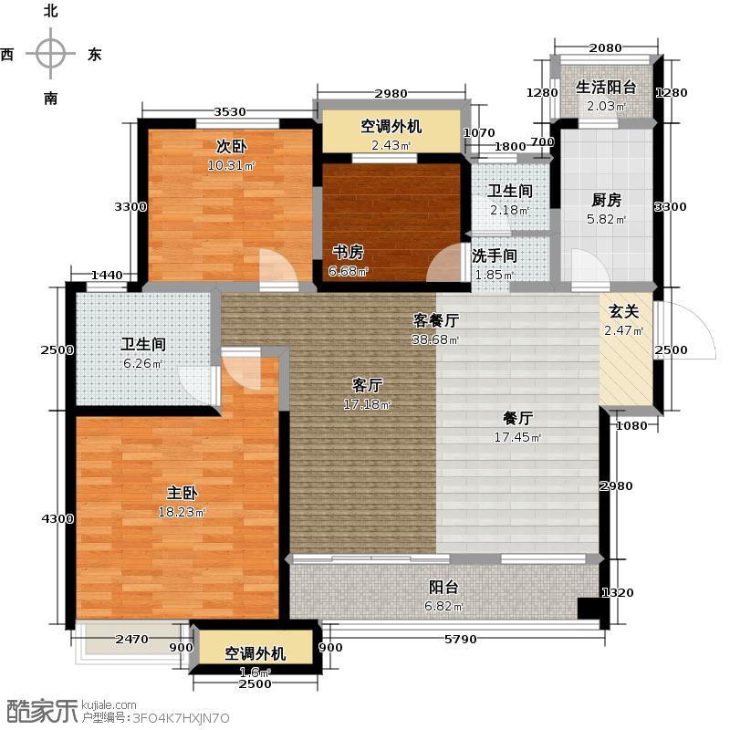 龙湖香醍国际社区118.00㎡118平米三室两厅两卫户型