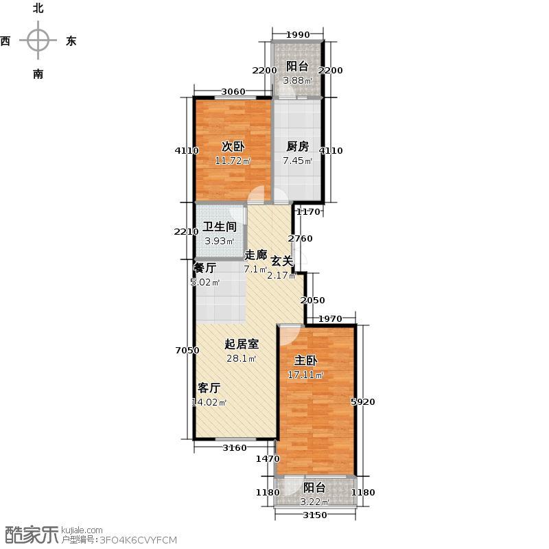 家园新城81.15㎡户型I2室1厅1卫户型2室1厅1卫
