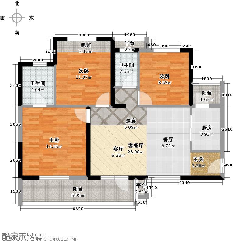 巢上城114.00㎡3室2厅2卫1厨户型3室2厅2卫