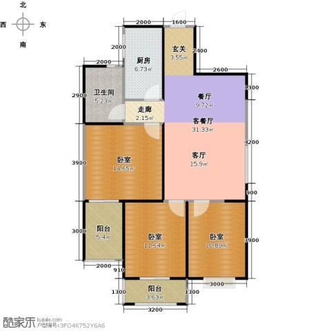 天玺国际1厅1卫1厨99.00㎡户型图