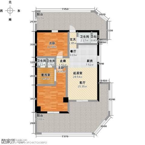 绿城蓝湾小镇2室0厅4卫0厨132.00㎡户型图