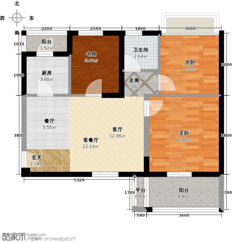 巢上城85.00㎡3室2厅1卫1厨户型3室2厅1卫