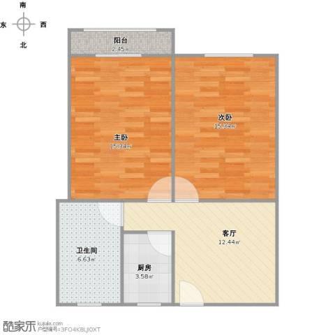 共康七村2室1厅1卫1厨74.00㎡户型图