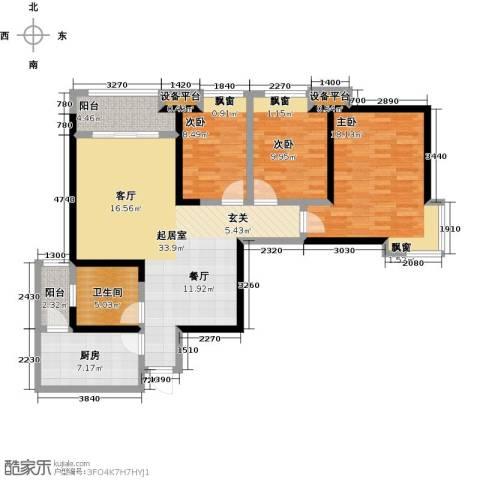 世融嘉轩3室0厅1卫1厨132.00㎡户型图