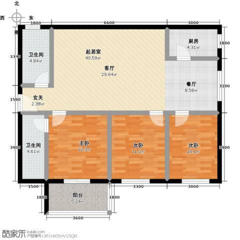 安诚御花苑3室0厅2卫1厨130.00㎡户型图