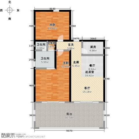 绿城蓝湾小镇2室0厅3卫1厨138.00㎡户型图